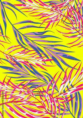 Tropic summer vibes leaf background. Vector illustration. - 187062298