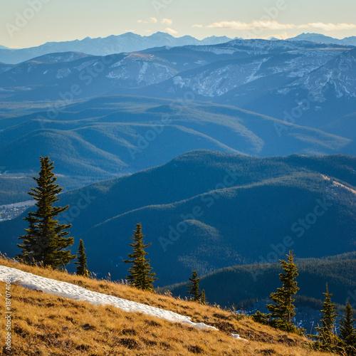 Aluminium Nachtblauw View from Prairie Mountain, Alberta