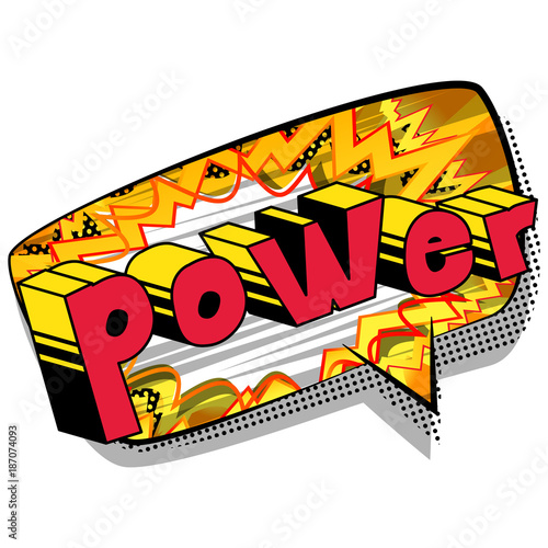 Fototapeta Power - Comic book style word on abstract background.