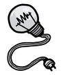 light bulb with plug / cartoon vector and illustration, hand drawn style, isolated on white background.