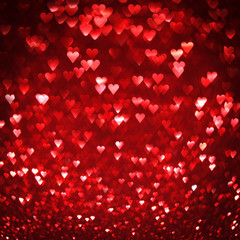 Bright red hearts abstract background