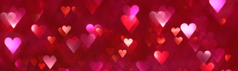 Bright red and pink hearts abstract background