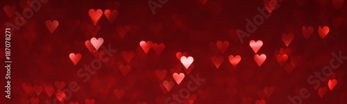 Sticker Bright red hearts abstract background