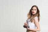 girl makeup artist on white background - 187079888