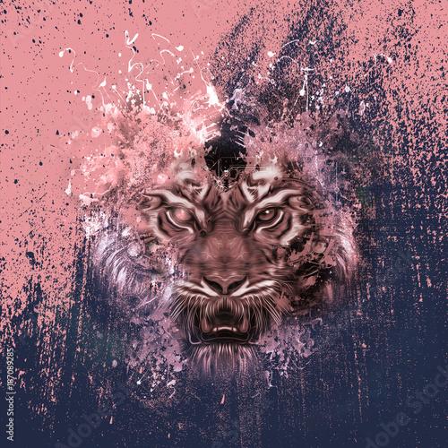 Fotobehang Reznik абстрактная голова тигра