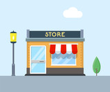 Store building vector flat illustration. - 187092407
