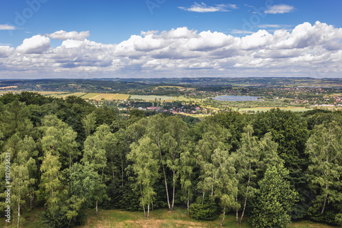 Fotobehang Krakau Cracow city in Poland - panoramic view from Pilsudski Mound