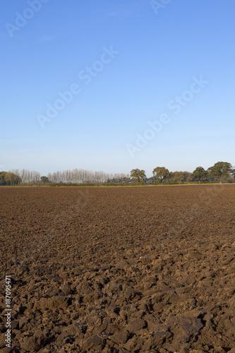 Staande foto Diepbruine autumn plow soil
