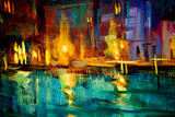oil painting on plywood, venice night canal, illustration