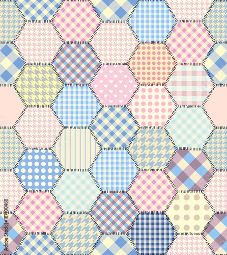 Seamless background pattern. Geometric patchwork pattern of a hexagons. - 187100460