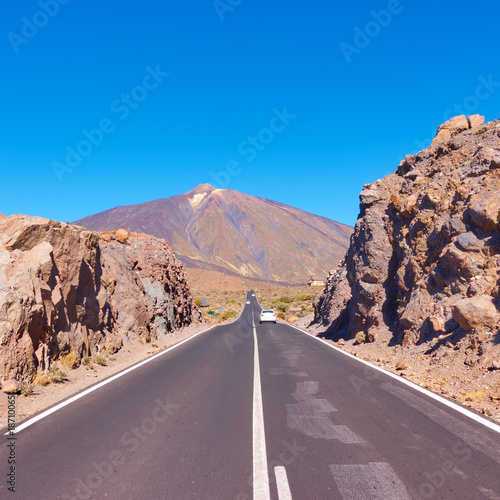 Perspective of highway to the Teide