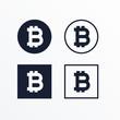 set of black and white bitcoins symbol
