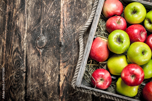 box with fresh red and green apples. - 187107080