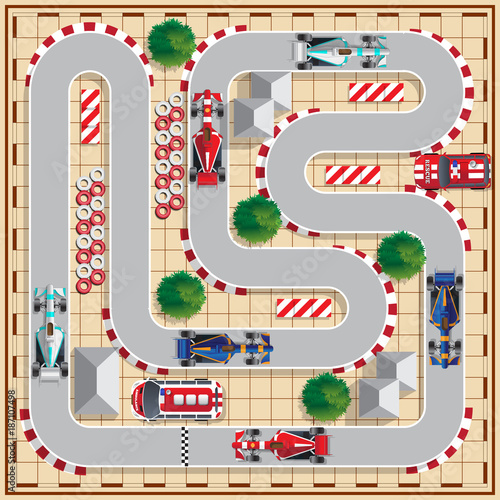 Fotobehang F1 Speedway with cars. View from above. Vector illustration.