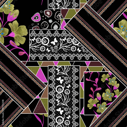 Seamless abstract pattern, patchwork. Bright pattern on a black background. Floral - geometric collage. - 187112208