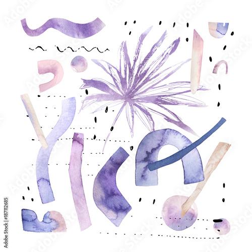 abstrakcjonistyczny-akwareli-tlo-z-tropikalnym-i-geometrical