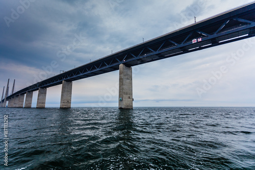 the oresund bridge between denmark and sweden - 187113292