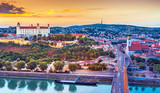 View on Bratislava castle,old town and Saint Martins cathedral over the river Danube in Bratislava city, Slovakia