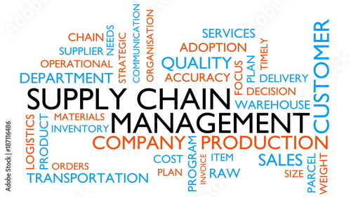Supply chain management word tag cloud. 3D rendering, white variant.