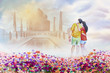 Painting man and woman in love Taj Mahal view.