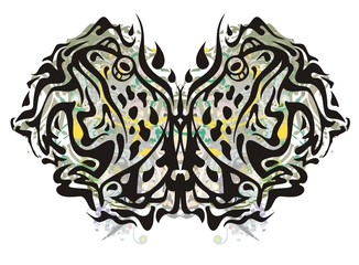 Grunge butterfly formed by toads. Tribal fantastic butterfly created in marsh shades of color with decorative elements