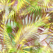 Cotton fabric Seamless tropical pattern. Yellow - green palm leaves on a light background.