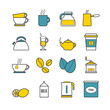 Set of vector line tea and coffee icons for web, print, mobile apps design