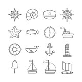 Collection of vector line sea icons for web, print, mobile apps design