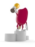 Ice cream character holding golden trophy