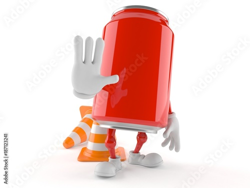 Soda can character with traffic cone