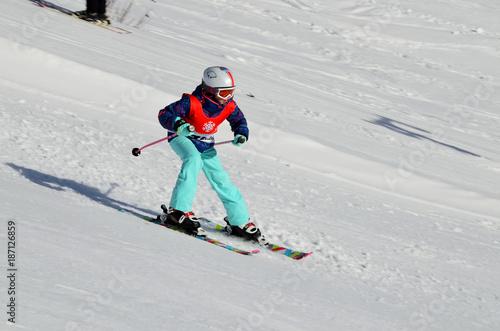 mata magnetyczna Skifahren, Wintersport, Kind beim Skilufen