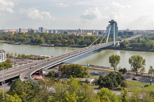 Aluminium UFO UFO Bridge in Bratislava, Slovakia.