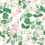 Seamless pattern with honeysuckle 4 - 187129471