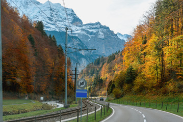 Beautiful view country road in Switzerland during autumn