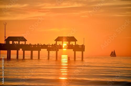 Aluminium Strand Pier at sunset