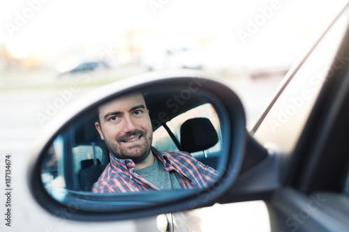 Man driving.Safe trip journey driving concept