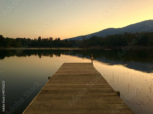 wood jetty by the lake