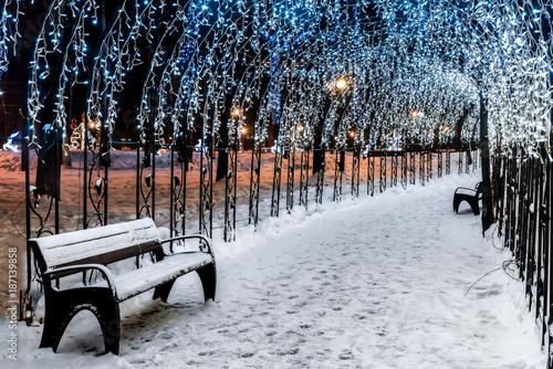Aluminium Moskou Winter Park in Khimki, Moscow region, Russia. Shop glowing in the alley.