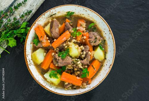 Traditional Irish stew - top view - 187140844