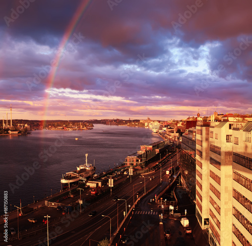 Staande foto Stockholm Beautiful sunset with rainbow and dark blue sky over the Stockholm - the capital of Sweden