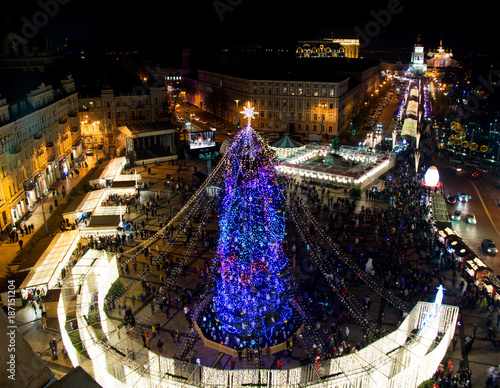 Fotobehang Kiev Beautiful view from above on center of city and decorated Christmas tree on Saint Sophia square in Kyiv, Ukraine, 2018.