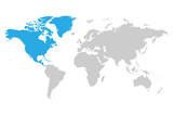 North America continent blue marked in grey silhouette of World map. Simple flat vector illustration.