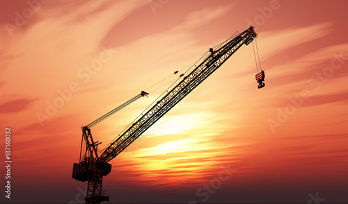 3D crane against a sunset sky