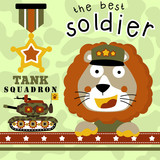 Lion cartoon with military equipment  - 187162478