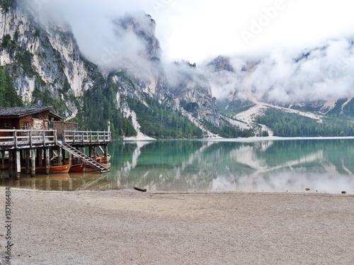Foto op Canvas Bergen Lake in the morning