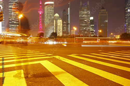 the light trails on the modern building background in shanghai china - 187167448