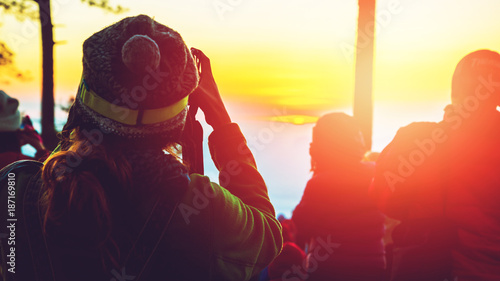 Keuken foto achterwand Zwavel geel photographer Asian women Traveling photograph Nature. travel relax in the holiday. photograph sunrise in the morning among people. Thailand