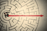 Business person standing in the middle of a circular maze - 187171475
