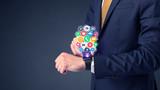 Businessman wearing smartwatch. - 187171619