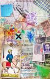 Sfondo con collage,manoscritti misteriosi,carte da gioco,banconote,vecchi francobolli disegni e graffiti astrologici,alchemici ed esoterici.